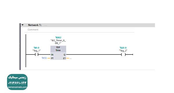 مثال با استفاده از تایمر TOF در برنامه نویسی زیمنس