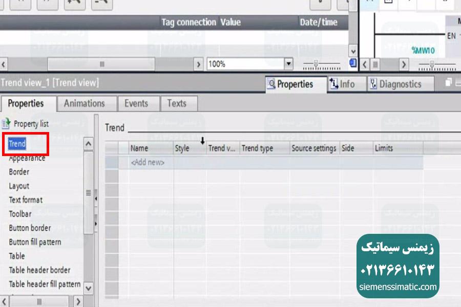 تنظیمات Trend View در HMI نمایندگی زیمنس